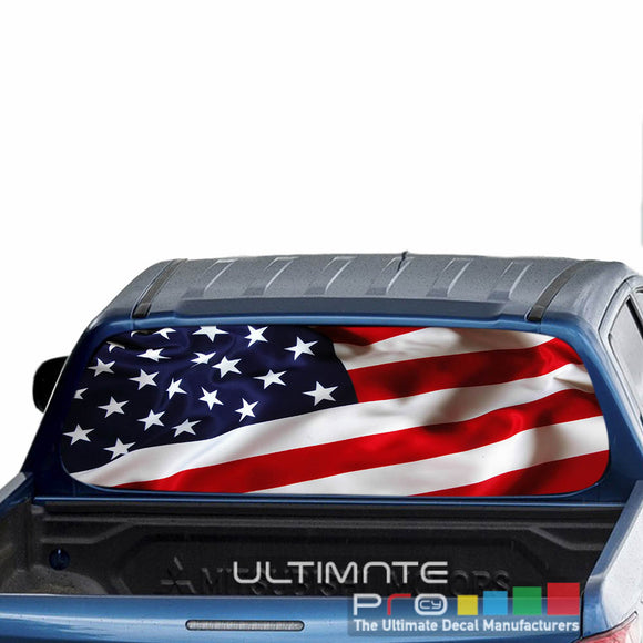 USA Flag 1 Perforated Decals stickers compatible with Mitsubishi L200