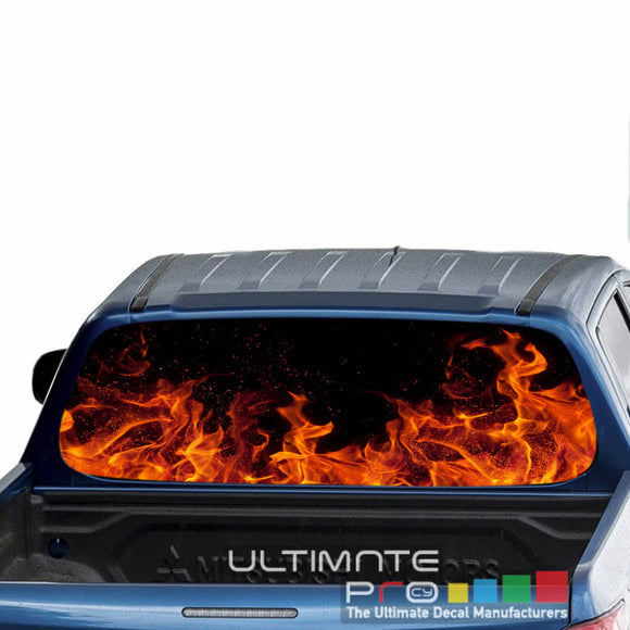 Flames Perforated Decals stickers compatible with Mitsubishi L200