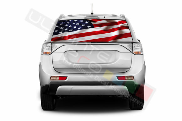 USA Flag Perforated Decals compatible with Mitsubishi Outlander