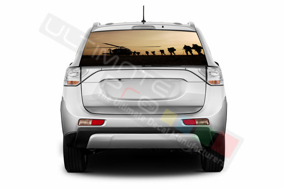 Army Perforated Decals compatible with Mitsubishi Outlander