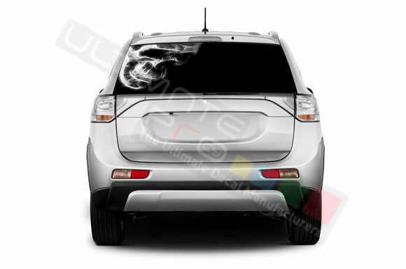 Skull Perforated Decals compatible with Mitsubishi Outlander