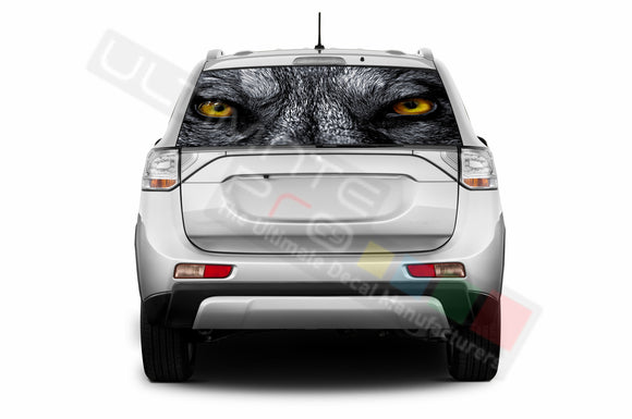 Wolf Perforated Decals compatible with Mitsubishi Outlander