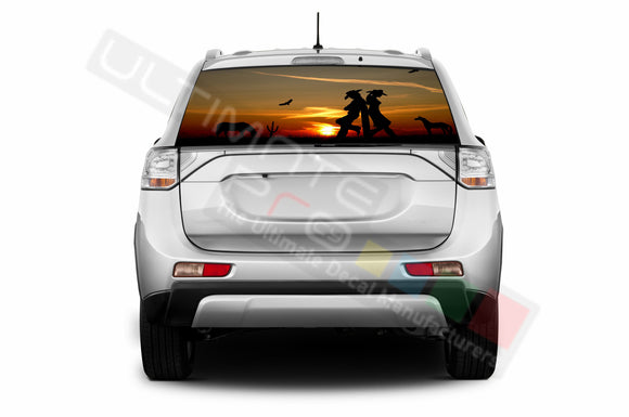 West Perforated Decals stickers compatible with Mitsubishi Outlander