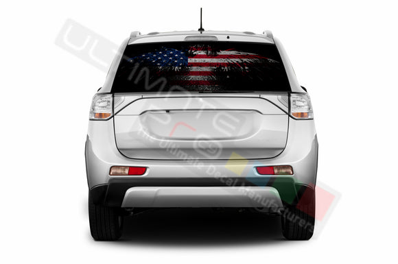 Eagle Flag Perforated Decals compatible with Mitsubishi Outlander
