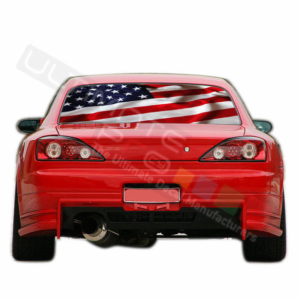 USA Flag Perforated Decals compatible with Nissan Silvia
