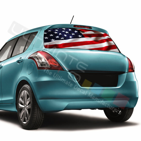 USA Flag Perforated Decals compatible with Suzuki Swift