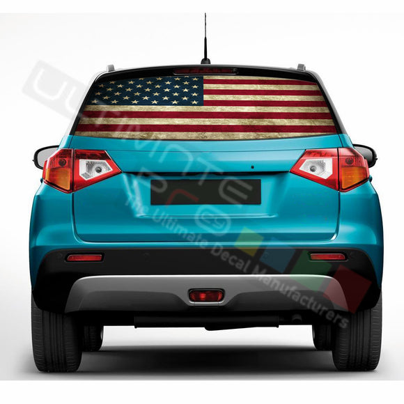 USA Flag Perforated Decals compatible with Suzuki Vitara