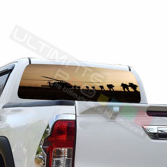 Army Perforated Decals compatible with Toyota Hilux