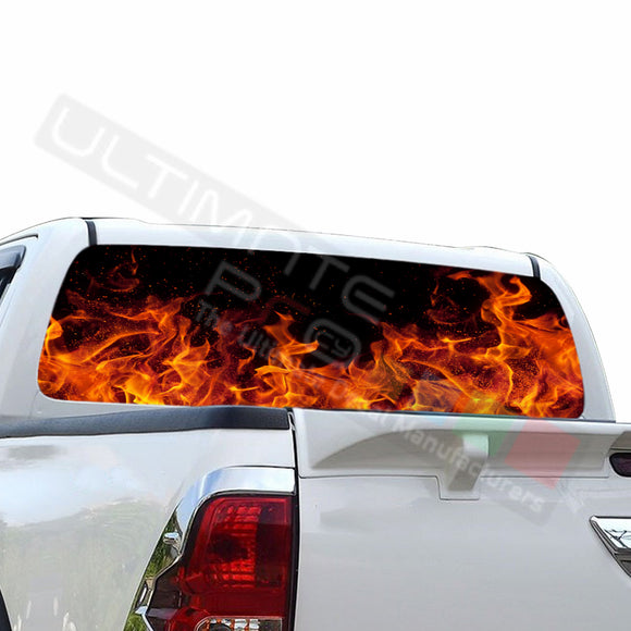 Flames Perforated Decals compatible with Toyota Hilux