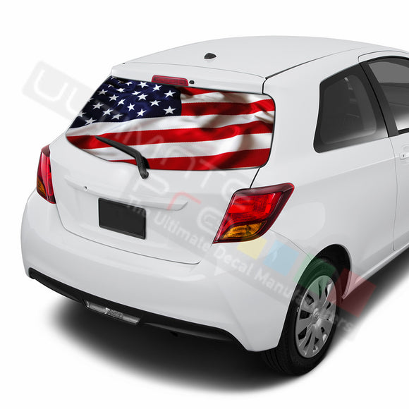 USA Flag Perforated Decals compatible with Toyota Yaris