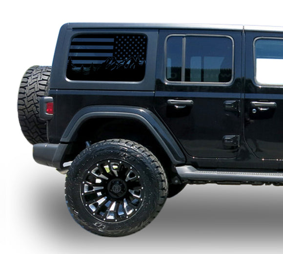 Decal USA Flag window sticker Compatible with Jeep JL Wrangler 2019-Present