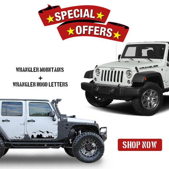 Mountains Decal sticker & wrangler letters Compatible with Jeep Wrangler JK,JL 2007-Present