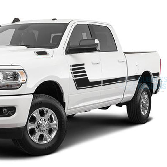 Big Hockey Side Stripes Decals Graphics Vinyl For Dodge Ram Crew Cab 3500 Bed 64 Black /