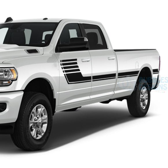 Big Hockey Stripes Decals Graphics Vinyl For Dodge Ram Crew Cab 3500 Bed 8 Black / 2019-Present Side