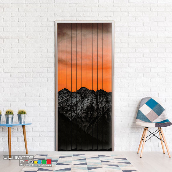 Door Curtain ideas for Decoration Mountains 3 Curtain printed Design