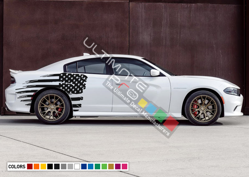 Rear Quarter Panel Kit Sticker American Flag Decal For Dodge Charger 2011 - Present