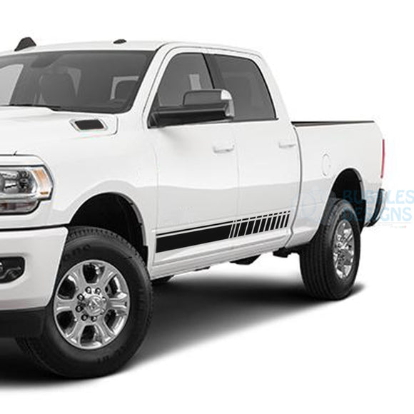 Door Side Stripes Decals Graphics Vinyl For Dodge Ram Crew Cab 3500 Bed 64 Black / 2019-Present Side