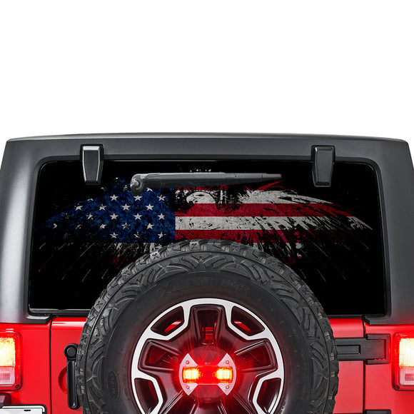 Flag USA Eagle Perforated for Jeep Wrangler JL, JK decal 2007 - Present