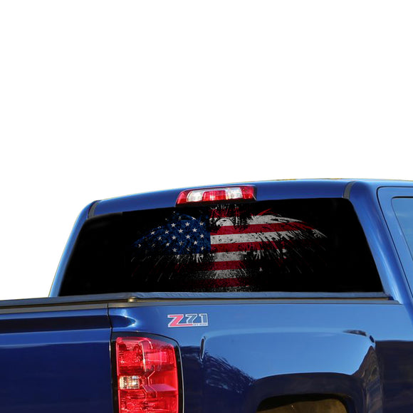 USA Eagle 3 Perforated for Chevrolet Silverado decal 2015 - Present