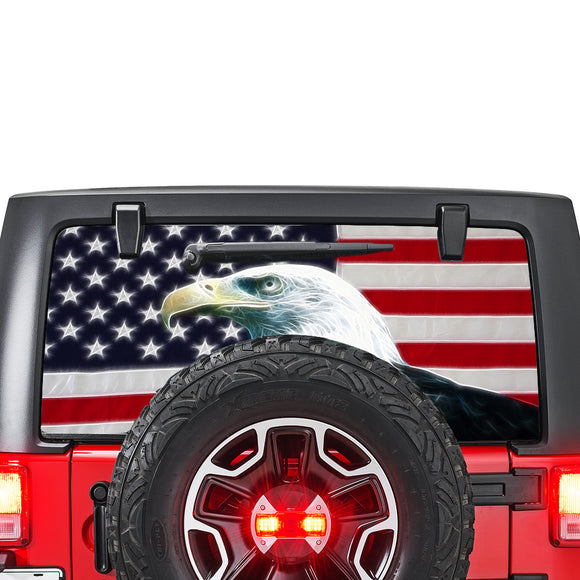 USA Eagle 1 Perforated for Jeep Wrangler JL, JK decal 2007 - Present