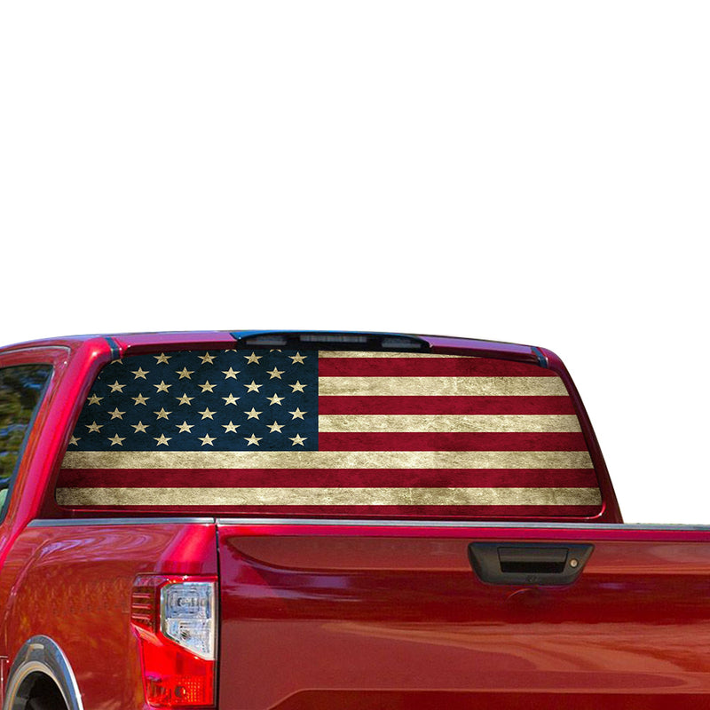 USA Flag Perforated for Nissan Titan decal 2012 - Present