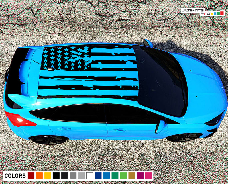 Decal Banner American Flag Compatible with Ford Focus RS 2016- Present