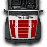 Hood Full Stripes, Decals Compatible with Jeep Wrangler JK 2010-Present
