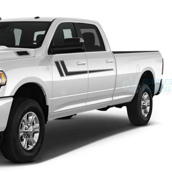 Hockey Stripes Decals Graphics Vinyl For Dodge Ram Crew Cab 3500 Bed 8 Black / 2019-Present Side