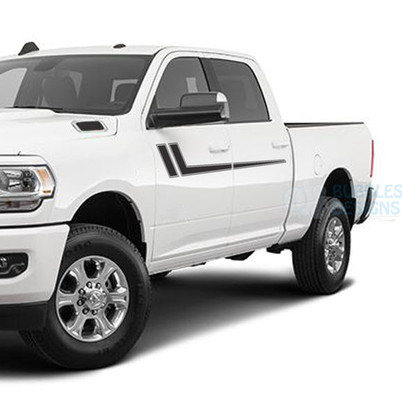 Hockey Stripes Side Door Decals Graphics Vinyl For Dodge Ram Crew Cab 3500 Bed 64 Black /