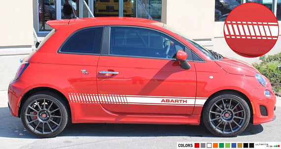 Racing Side Stripes Decal Sticker Compatible with Fiat 500 Abarth