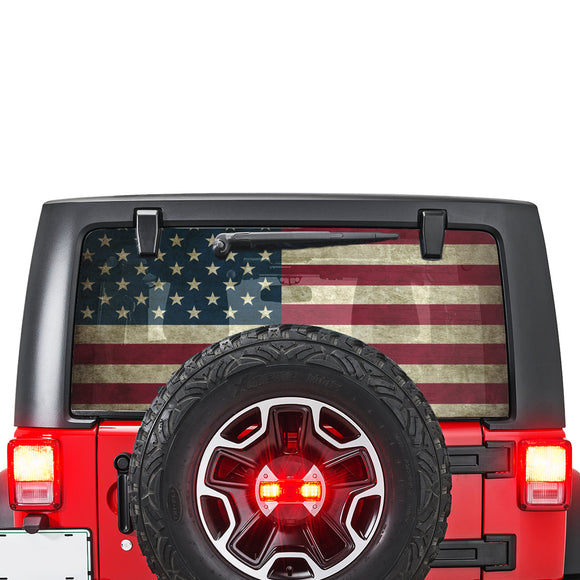 USA Flag Perforated for Jeep Wrangler JL, JK decal 2007 - Present
