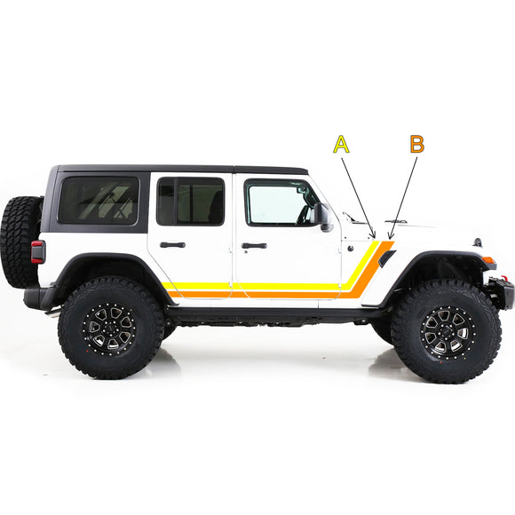 jk jl wrangler stickers 2 colours decals side door retro stripes