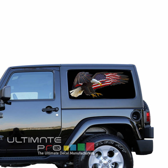 Rear Window USA Eagle 1 Perforated for Jeep Wrangler JL, JK decal 2007 - Present