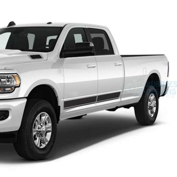 Line Stripes Side Door Decals Graphics Vinyl For Dodge Ram Crew Cab 3500 Bed 8 Black / 2019-Present