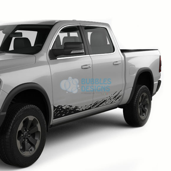 Lower Door Splash Decals Graphics Vinyl For Dodge Ram Crew Cab 1500 Black / 2019-Present Side Door