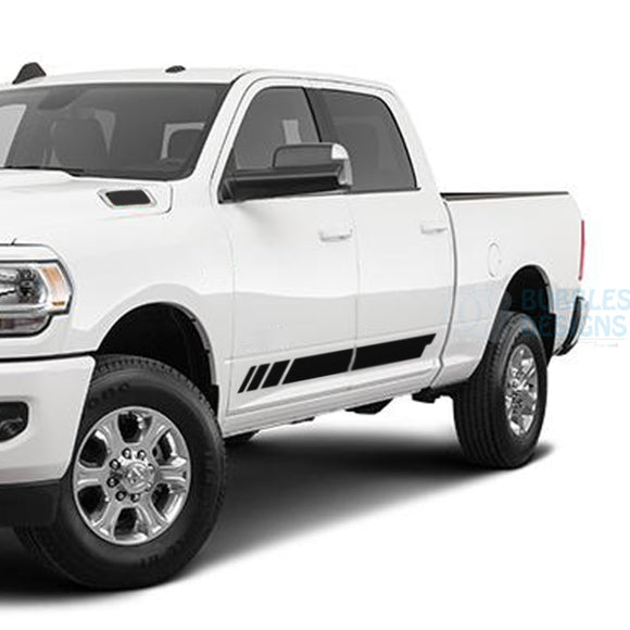Lower Door Stripes Decals Graphics Vinyl For Dodge Ram Crew Cab 3500 Bed 64 Black / 2019-Present