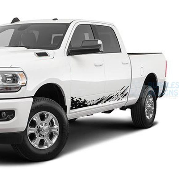 Lower Mud Splash Side Door Decals Graphics Vinyl For Dodge Ram Crew Cab 3500 Bed 64 Black /