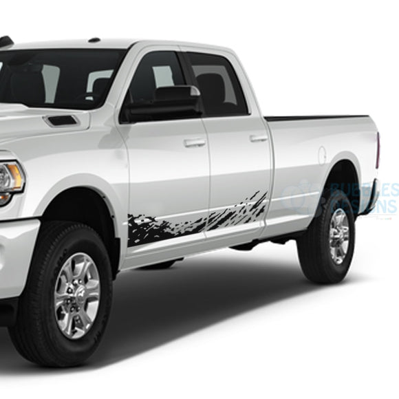 Lower Splash Decals Graphics Vinyl For Dodge Ram Crew Cab 3500 Bed 8 Black / 2019-Present Side Door