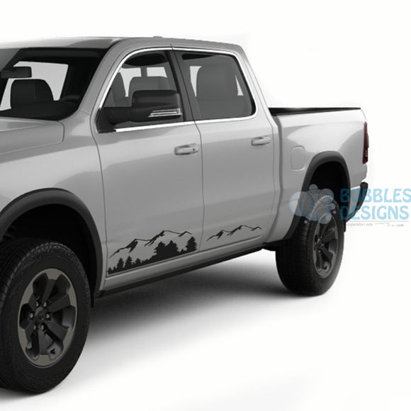 Mountain Doors Graphics Vinyl For Dodge Ram Crew Cab 1500 Black / 2019-Present Side Door Sticker