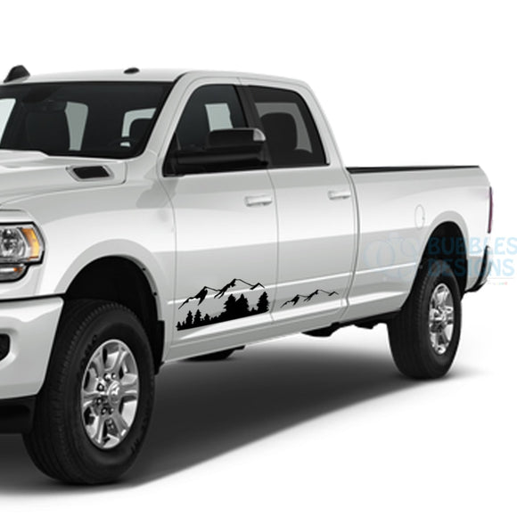 Mountain Side Door Decals Graphics Vinyl For Dodge Ram Crew Cab 3500 Bed 8 Black / 2019-Present Side