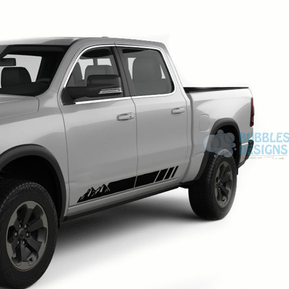 Mountain Side Door Stripes Graphics Vinyl For Dodge Ram Crew Cab 1500 Black / 2019-Present Side Door