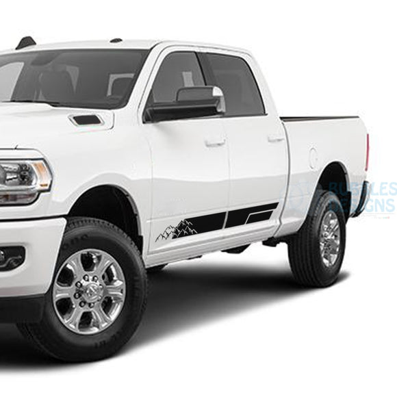 Mountains Stripes Door Decals Graphics Vinyl For Dodge Ram Crew Cab 3500 Bed 64 Black / 2019-Present