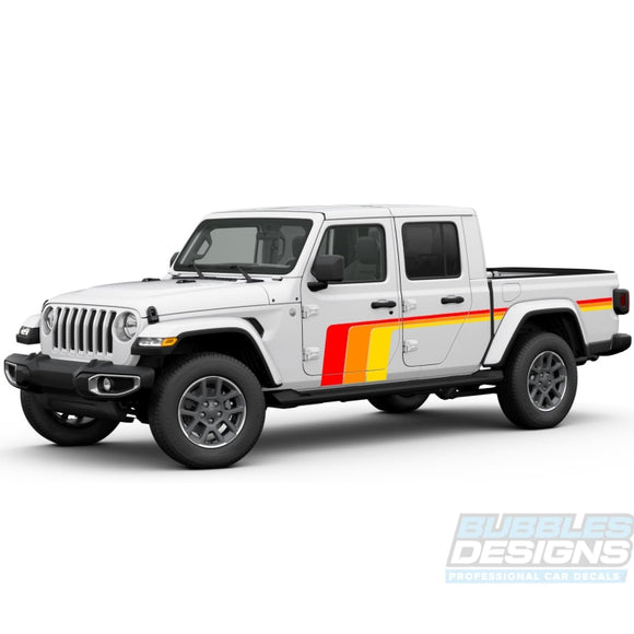 Retro Scrambler Treble Stripe Decal Vinyl Compatible With Jeep Gladiator 2019-Present Side Decals /
