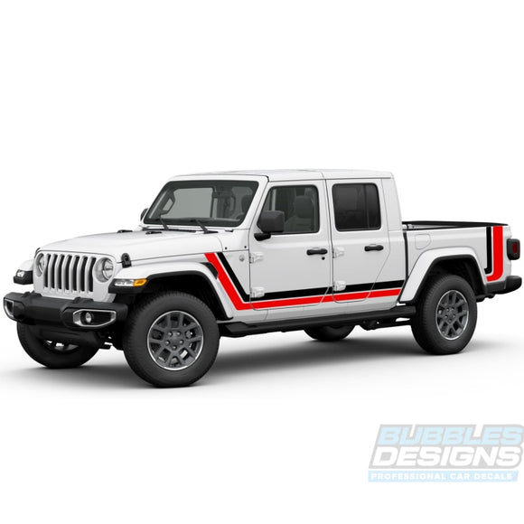 Retro Sticker Scrambler Vinyl Compatible With Jeep Gladiator 2019-Present Side Decals / Stripes
