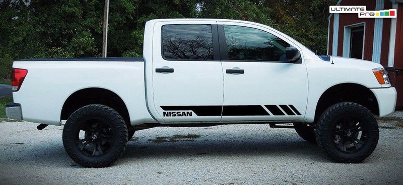 2X Decal Sticker Side Stripe Kit Compatible With Nissan Titan 2003-2017 Matte Black