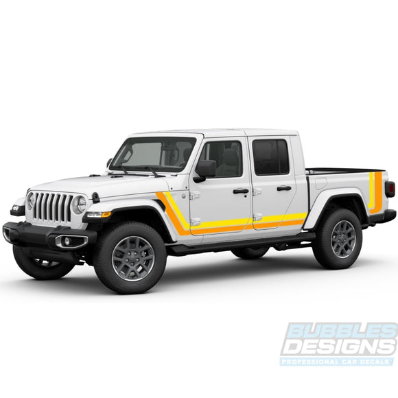 Scrambler Retro Decal Vinyl Compatible With Jeep Gladiator 2019-Present Side Decals / Stripes