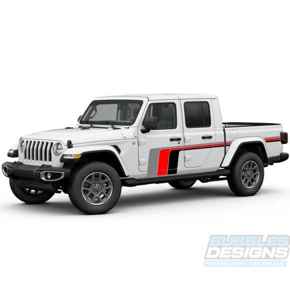 Scrambler Retro Treble Stripe Decal Vinyl Compatible With Jeep Gladiator 2019-Present Side Decals /