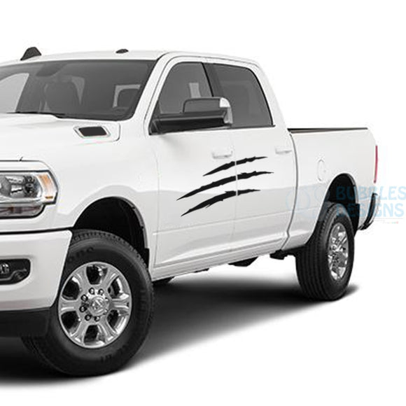 Scratches Side Door Decals Graphics Vinyl For Dodge Ram Crew Cab 3500 Bed 64 Black / 2019-Present