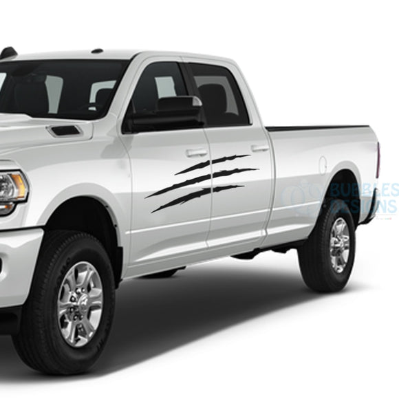 Scratches Sticker Decals Graphics Vinyl For Dodge Ram Crew Cab 3500 Bed 8 Black / 2019-Present Side