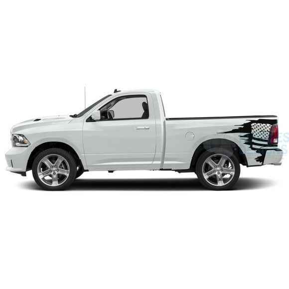 Side Bed Usa Decals Graphics Vinyl For Dodge Ram Regular Cab 1500 Black / 2019-Present Bed Stickers